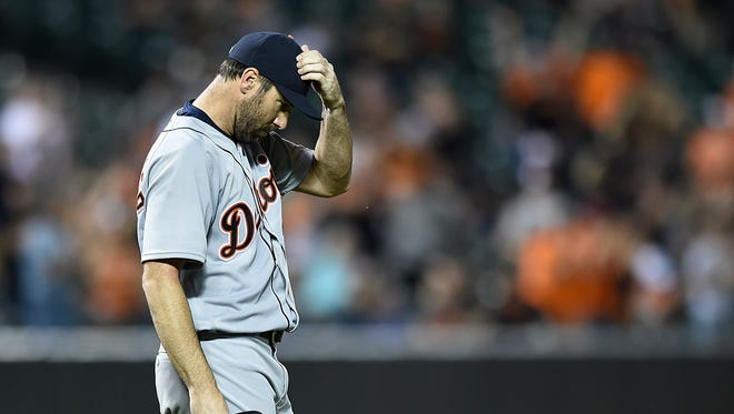 Detroit Tigers pitcher Justin Verlander reacts after giving up a solo home run to Baltimore Orioles' Adam Jones in the sixth inning of a baseball game, Friday, May 13, 2016, in Baltimore. The Orioles won 1-0.