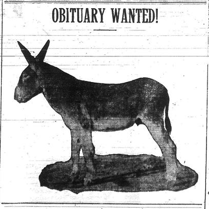 This cartoon of a donkey ran on the front page of the