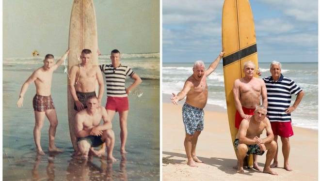 In an attempt to recreate the photo taken nearly 50 years prior in May 1966 while stationed at Camp Pendleton in Oceanside, California the four friends: Dennis Puleo, from left, Tom Hanks, Bob DeVenezia (kneeling), and Bob Falk met on Cinnamon Beach Saturday, April 23, 2016 in Palm Coast, Fla. The four friends hadn't all been in the same place since being shipped off to fight in the Vietnam War.