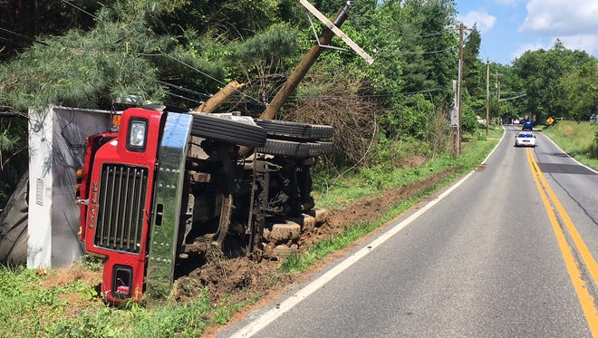 A truck ran off Corner Ketch Road Monday, June 6, 2016, causing power outages in the area.