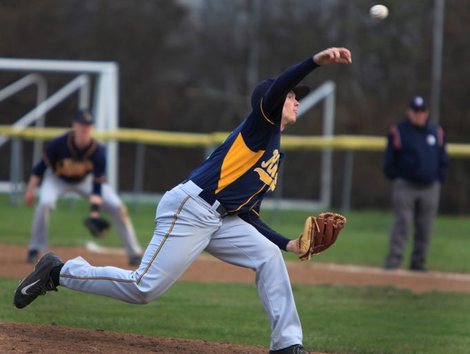 Pittsford Sutherland's #8 Alec Vaules was the starting pitcher against McQuaid.