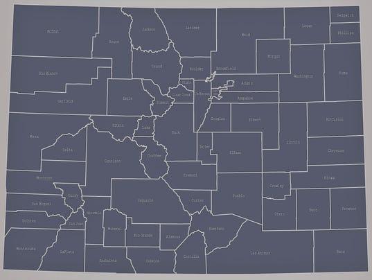 Colorado county map outline vector illustration in creative design