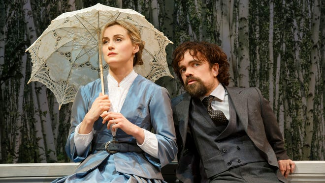"Rakitin (Peter Dinklage) is hopelessly in love with Natalya (Taylor Schilling) in Turgenev's ""A Month in the Country."""