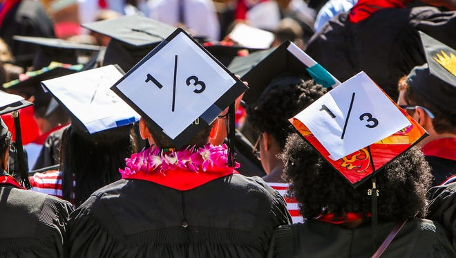 Stanford students wear a 1/3 sign on their caps to show solidarity for a Stanford rape victim during graduation ceremonies at Stanford University, in Palo Alto, June 12, 2016.  The 1/3 represents a statistic that claims one in three students will experience a sexual assault by the time they graduate college.