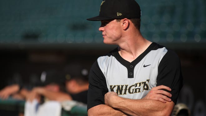 Zack Burdi former UofL baseball player and current member of the Charlotte Knights gets ready for a game against the Louisville Bats. August 30, 2016