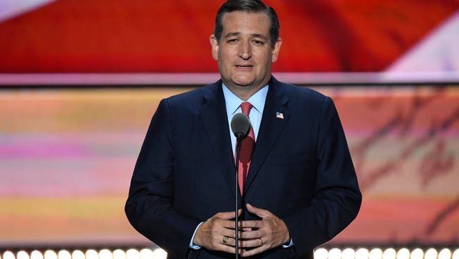 Sen. Ted Cruz, R-Texas, speaks during the 2016 Republican National Convention at Quicken Loans Arena.