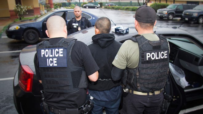 """The """"No Sanctuary"""" group based in the Inland Empire argues that illegal immigrants who are convicted criminals should not be allowed to live in the United States. Photo taken Feb. 7, 2017 in Los Angeles."""