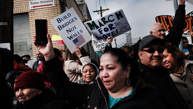 Protesters in Elizabeth, N.J., on Feb. 23, 2017.