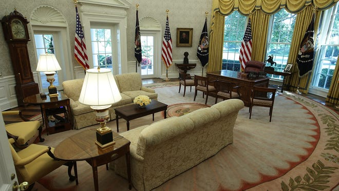 The Oval Office of the White House is seen after renovations including new wallpaper Aug. 22, 2017 in Washington, DC. The White House has undergone a major renovation with an upgrade of the HVAC system at the West Wing, the South Portico steps, the Navy mess kitchen, and the lower lobby.