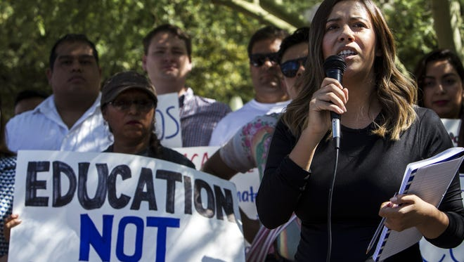 Korina Iribe, director of Undocumented Students for Education Equity, talks about Deferred Action for Childhood Arrivals on Aug. 29, 2017, in Phoenix.