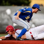 Louisville's Will Smith gets tagged out by MSU's Braxton Morris trying to steal second. May 29, 2015