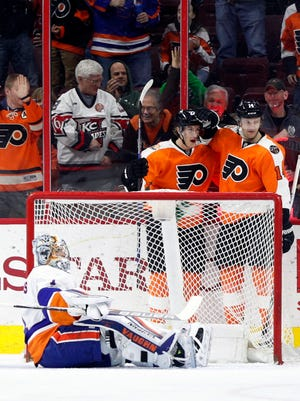 Dale Weise had a Gordie Howe hat trick and the Flyers won, but their playoff hopes still shrank.