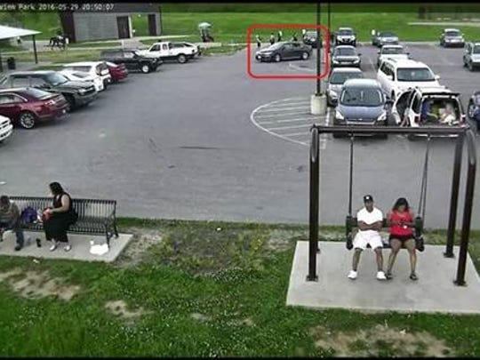 LMPD said a black passenger car, pictured here, was