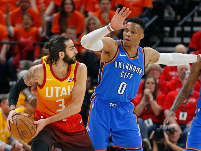 Oklahoma City Thunder guard Russell Westbrook (0) guards