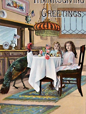 In an era before the proliferation of greeting cards, exchange of holiday postcards was a popular exercise, such as the circa 1910 Thanksgiving Greetings postcard depicting two young girls with a napkin-draped turkey as a dinner guest.