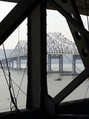 View of the Tappan Zee Bridge from under the main roadway.