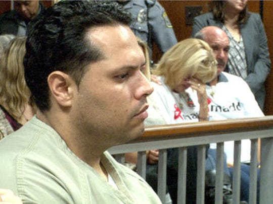 Erick Uzcategui at his 2014 sentencing for the vehicular homicide of Ocean Gate police Officer Jason Marles.