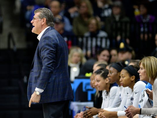 Connecticut head coach Geno Auriemma yells to his team during the second half of an NCAA college basketball game against Tulane Saturday, Jan. 27, 2018, in Storrs, Conn. UConn won, 98-45. (AP Photo/Stephen Dunn)
