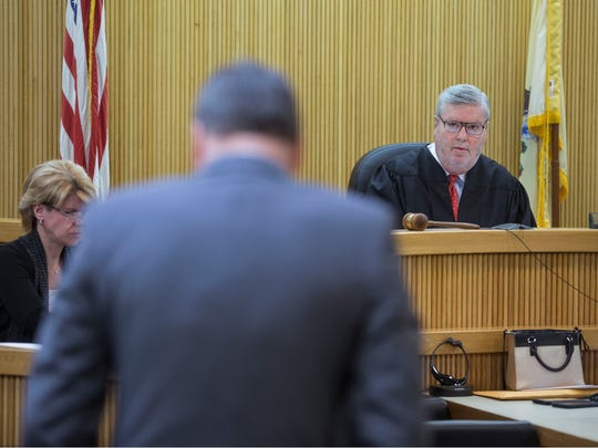 Proceedings for the trial of Raquel Garajau and Joseph Villani in the murder of Trupal Patel take place at Monmouth County Superior Court.  Judge Thomas Scully listens to defense attorney Robert A. Honecker. Freehold, NJ Wednesday, November 29, 2017 @dhoodhood