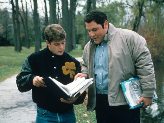 "Sean Astin (left) and Jon Favreau in 1993's ""Rudy."""