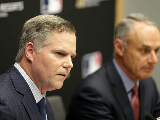 MGM Resorts CEO James Murren, left, and MLB Commissioner Rob Manfred speak during a news conference at MLB headquarters in New York, Tuesday, Nov. 27, 2018. With MGM's purchase of Yonkers Raceway, sports betting could be in the cards.