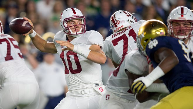 Stanford Cardinal quarterback Keller Chryst (10) throws the ball in the second quarter against the Notre Dame Fighting Irish at Notre Dame Stadium on Oct 15, 2016 in South Bend, IN.
