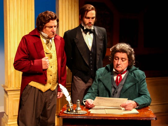"""Bill Ford Campbell (from left) as Anton Diabelli, Turner Crumbley as Anton Schindler and Larry Wells as Beethoven in New Stage Theatre's production of """"33 Variations."""""""
