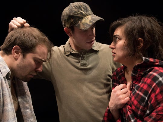 """From left, Jeff Tagliaferro, Eric Berger and Danielle Nigro star in the Binghamton University production of """"A Lie of the Mind."""""""