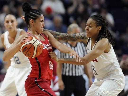 Canada's Kia Nurse, front left, is pressured by the United States' Seimone Augustus during the second half of a women's exhibition basketball game Friday in Bridgeport, Conn.