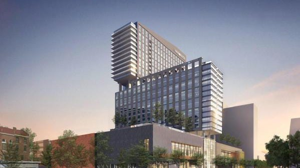 Rendering of the new Omni Hotel and Residences in downtown Louisville.