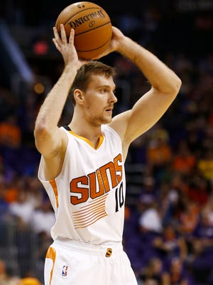 Phoenix Suns Zoran Dragic on the court against Denver Nuggets during preseason action on Friday, Oct. 10, 2014 at US Airways Center in Phoenix.