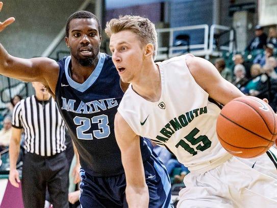 Brendan Barry vs. Maine last season (Dartmouth Athletics photo)
