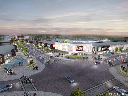 An artist's rendering of the proposed arena and sports