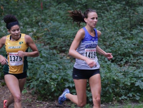 Christiana Rutkowski (right) running for Seton Hall.
