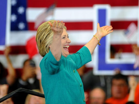 Hillary Clinton fires up the crowd in a June appearance at Hueneme High School in Oxnard.