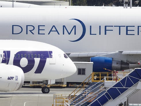 A LOT Polish Airlines Boeing 787 Dreamliner taxis past a Boeing 747 Dreamlifter on Apr. 5, 2013, at Paine Field in Everett, Washington.
