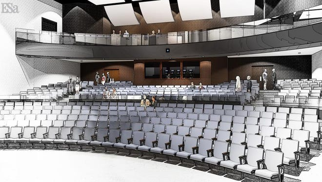 Preliminary (pre-architectural) facility concept drawing of the interior of the proposed Downtown Clarksville Performing Arts Center.