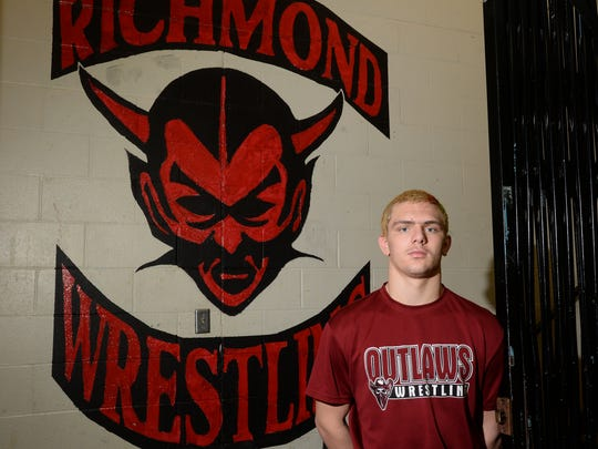 Richmond's Alston Bane Tuesday, Feb. 16, 2016, as he prepares for this weekend's state wrestling tournament  in  the wrestling room at  Richmond High School.