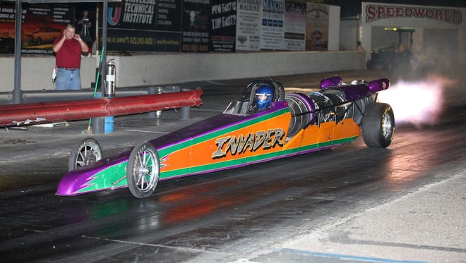 Curt Eierdam's jet dragster Invader will be in Peoria to help raise funds for the Jennabears Foundation.