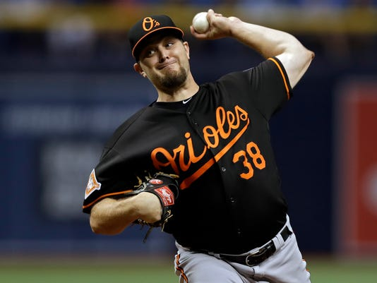 Baltimore Orioles' Wade Miley pitches to the Tampa Bay Rays during the first inning of a baseball game Friday, Sept. 29, 2017, in St. Petersburg, Fla. (AP Photo/Chris O'Meara)