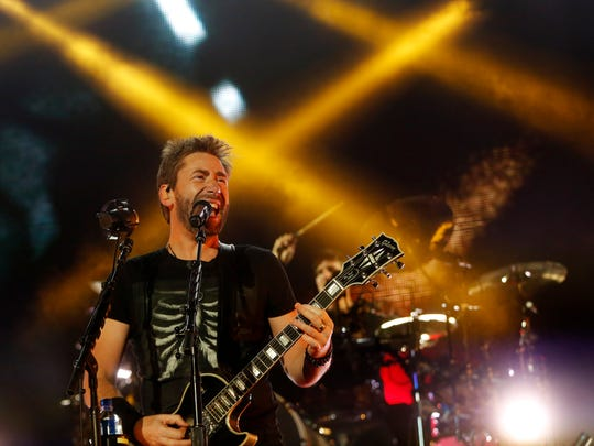Nickelback performs Friday, Aug. 11, 2017, on the Grandstand at the Iowa State Fair in Des Moines.