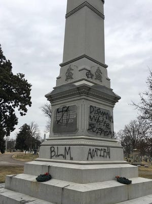 A Confederate monument at Mt. Olivet Cemetery in Nashville was recently vandalized.
