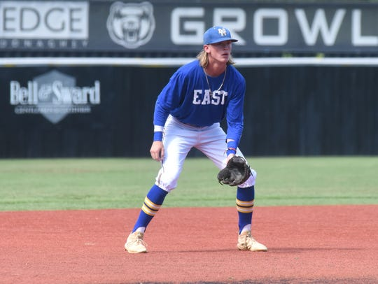 Mountain Home's Gage McClain plays third base for the