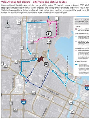 A map of Velp Avenue closures starting Aug. 11 includes alternate and detour routes.