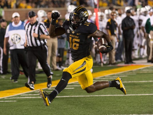 FILE - In this Sept. 10, 2016, file photo, Missouri running back Damarea Crockett prances into the end zone as he scores on a 26-yard run during an NCAA college football game against Eastern Michigan in Columbia, Mo. (AP Photo/L.G. Patterson, File)
