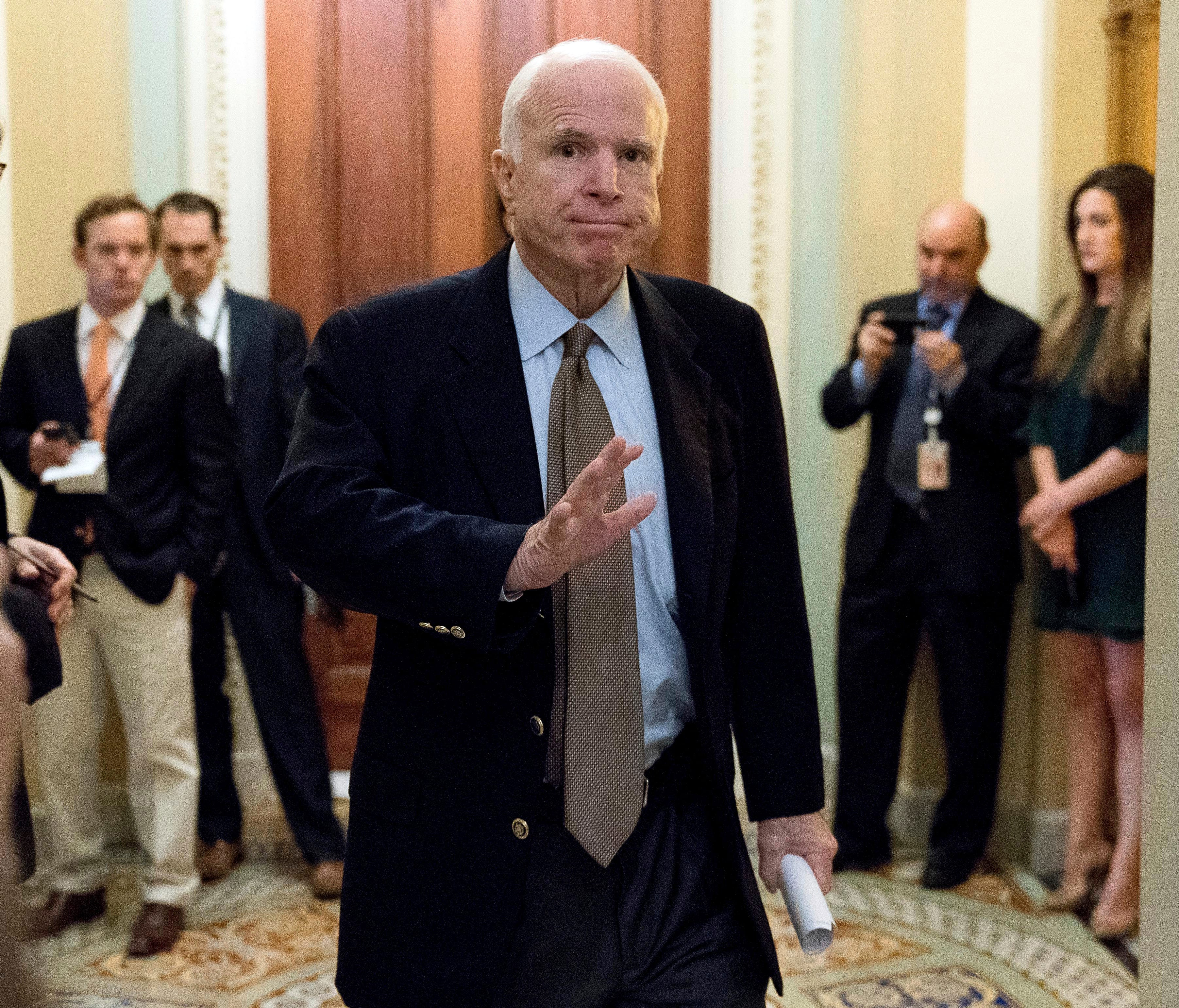 In this June 22, 2017, file photo Sen. John McCain, R-Ariz., arrives for a meeting on a health care reform bill on Capitol Hill.