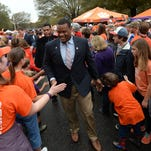 Clemson players and fans take part in Tiger Walk before the Tigers game against Florida State Saturday at Clemson's Memorial Stadium.