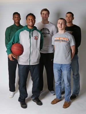 The 2016 All-CIML first team includes: (back row from left) Douglas Wilson, junior at Hoover; Ted Brown, senior at Dowling Catholic; Quinton Curry, junior at Valley; and (front row from left) Dontre English, senior at North; and Turner Scott, senior at Valley.