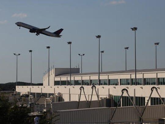 A plane departs Southwest Florida International Airport.