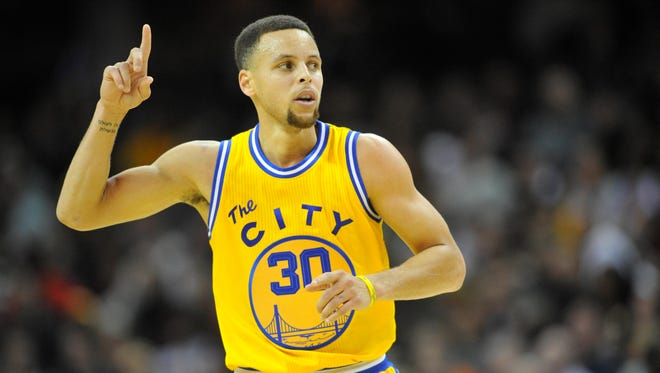 Golden State Warriors guard Stephen Curry (30) is leading the USA TODAY MVP voting.